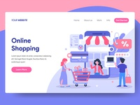 Online Shopping Illustration for Web Landing Page