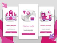 Online Food Delivery for Mobile App Illustration