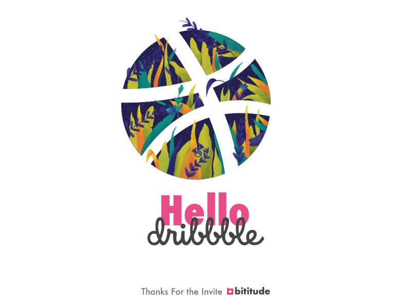 Hello Dribbble. debut leaves forrest illustration