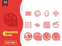 Ramen Icon In Line Style For Any Purpose
