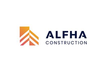 ALPHA CONSTRUCTION building construction logo conceptual logo fashion minimal vector mark logotype illustration branding identity icon logo