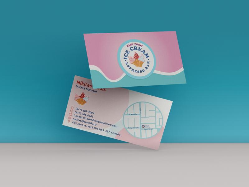 babypoin business card business card icecream shop illustration design typography businesscard logos minimal logomark creative branding identity logo