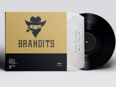 Bandits branding creative logotype mark icon music album design retro cowboy ninja music band brandits logo