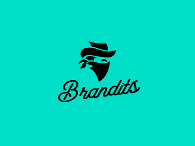 BRANDITS animation hat logo cowboy brandits vivrent vivrent moden agency lettermark minimal design illustration creative logotype branding icon identity logo