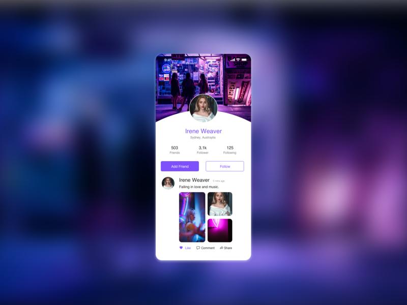 Profile DailyUI #06 ux ui app design