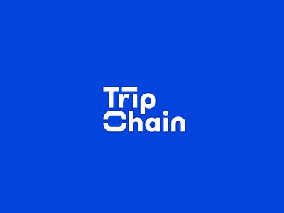 Tripchain | Logo animation logo 2d trip chain simple white blue flat design 2d animation minimal lettering illustration branding flat animation icon typography logo vector design 2d