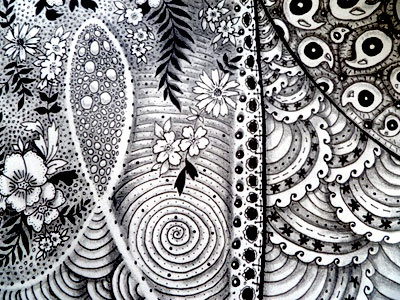 1st Zentangle - Detail zentangle doodle sketch ink micron pencil sketchbook abstract pattern