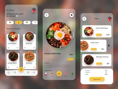 Foods Mobile App Transparent version ui design food and drink transparent product design mobile app trending ux ui design app food