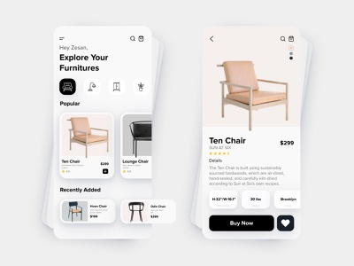 Furniture Mobile App Exploration trendy dribble best shot trend ios product design mobile ui mobile app ecommerce app minimal ux ui design chair clean ui card app furniture app