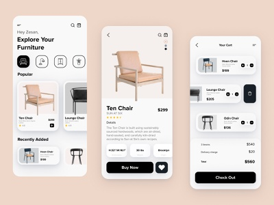Furniture Mobile App UX-UI Design trending ux ui product design mobile uiux mobile ui mobile app mobile furniture app furniture store furniture cards ui application app design app