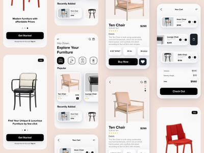 Furniture Mobile App - UX/UI Design newyork product design ux ui ios app ui furniture design cart design mobile app minimal shopping app furniture app furniture ecommerce app designer chair app design app
