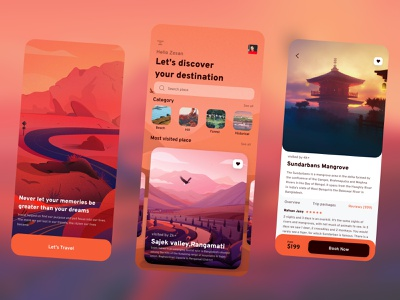 Travel UI exploration - Mobile App transparent ux ui travelling travel agency travel app tourism tour mobile app design mobile apps mobile ui app design app
