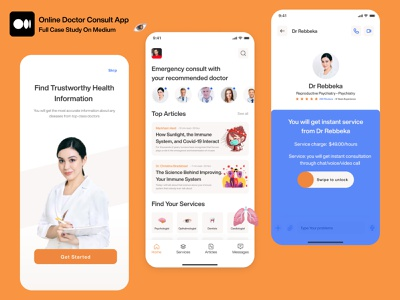 Online Doctor Consult - UI/UX Case Study medium medium article case study app design mobile app design mobile ui mobile design mobile app patient medical medicine medical app health healthcare doctor hospital clinic