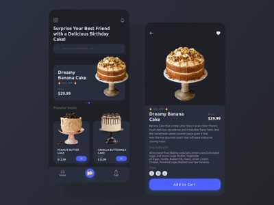 Foods Mobile App - Dark mode concept dark ui app design app ui mobile app ui mobile app mobile design food app uiux cake shop cake food and drink food