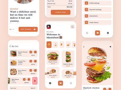 Food App ios ui design uiux card food service burger pizza app design mobile app app mobile cart menu delivery app delivery food app food