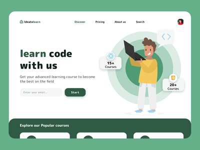 learning code hero header Exploration website web web design landing page headers popular zesan ideate react javascript code courses course learning learn