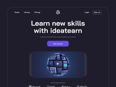 Online Course - Hero header hero section website design ux ui landing page learning platform dark skill online learn