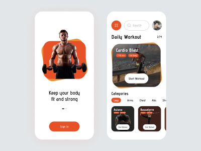 Fitness & Workout mobile App clean ios mobile app workout fit gym app excercise fitness ui ux app uiux