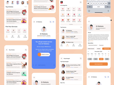 Medical App - Online Consult ui animation animation clean consulting doctor metal medicine mobile ui app design mobile app app ui ux care health app medical