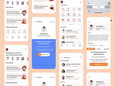 Medical App - Online Consult ui animation animation clean consulting doctor metal medicine mobile ui app design mobile app app ui ux care health app medical