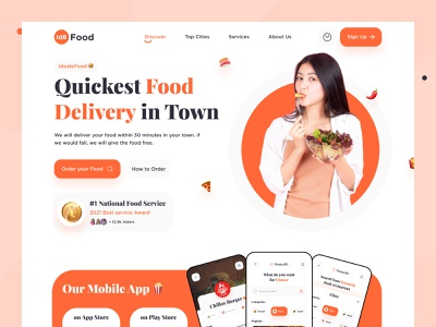 Food Delivery Landing Page 🍔 trending design hero section food order ui ux food and drink delivery service website design landingpage landing page food delivery food delivery service food