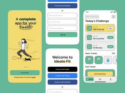 Health app trendy graphic design ios gym water fast care healthy health fit app design mobile app app ux