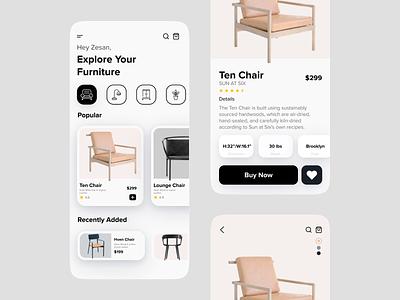 Furniture e-commerce App interior property furniture ecommerce store shop furniture app minimalist table chair mobile ui app design mobile app app ux ui