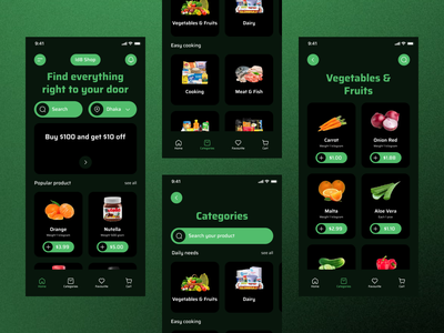 Grocery Shop Mobile App categories cart zesan ideate grocery ui design app mobile app shopping shopping app shopping cart ecommerce ecommerce app shop app grocery store marketplace ui ux