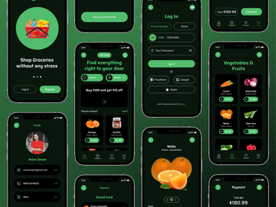 Grocery App app mobile ui app design mobile app ux delivery grocery store groceries motion graphics animation ui design