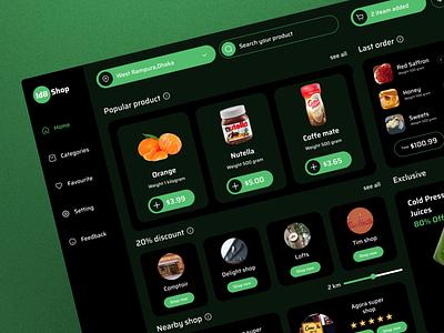 Grocery SaaS CRM Dashboard trend ux ui dark delivery grocery dashboard crm saas