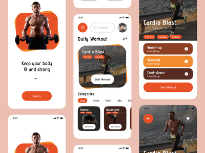 Fitness & Workout App fitness workout gym yoga running weight personal trainer stats activity zesan ideate ui app interface ux ios