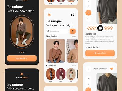 E-commerce Mobile App Design zesan ideate app ui ux fashion fashion app app design ecommerce app shopping shop ui ecomerce shop