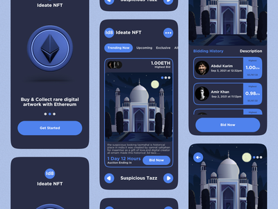 NFT Mobile App mobile app animation auction startup ux ui graphic design ideate dark mode crypto bitcoin cryptocurrency nft nft app ios doge