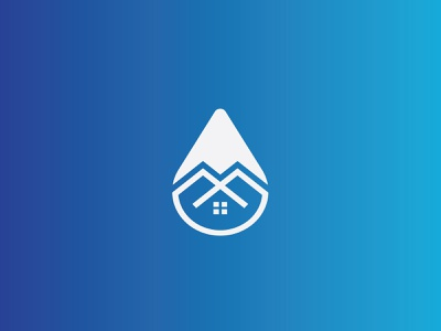 water drop home security logo icon logo mark simple negative space home security app icons symbol newyork minimal branding gradient flat abstract