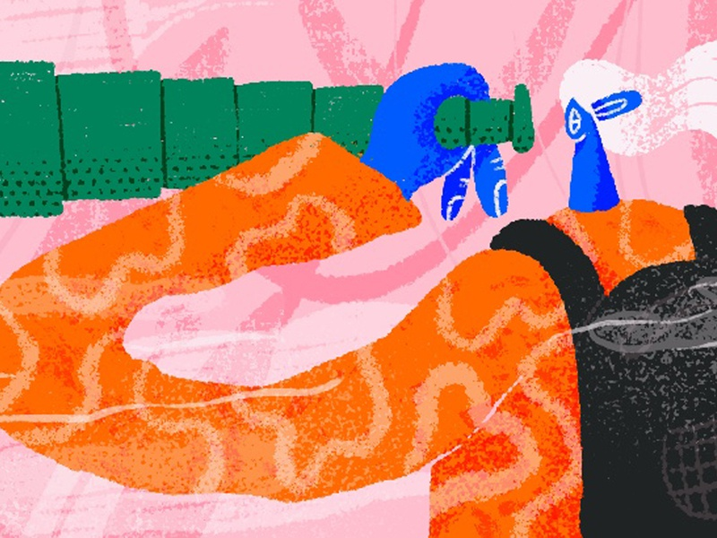 Telescope karolina woźniak ilustracja illustrations backpack forest jungle girl character girl illustration girl character design characters textured texture pattern design pattern a day pattern art pattern telescope 2d art illustration