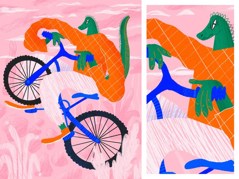 Bike procreate art animal animals 2d character 2d textured texture pattern art flowers flower illustration illustration art procreate karwozniak pattern karolina woźniak 2d art illustration dinosaur aligator bike