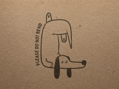 Please Do Not Bend Stamp stamp brand ruff illustration dog