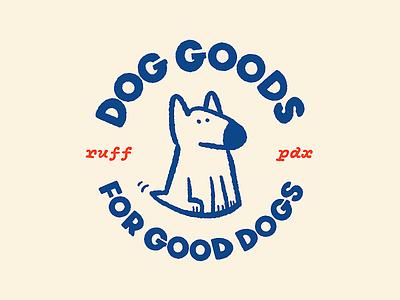 Dog Goods for Good Dogs logo affinity designer badge design bull terrier procreate ruff badge brand illustration dog