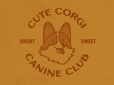 Cute Corgi Canine Club logo corgi ruff brand badge illustration dog