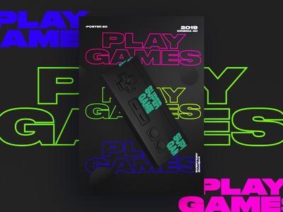 play Games Black Poster