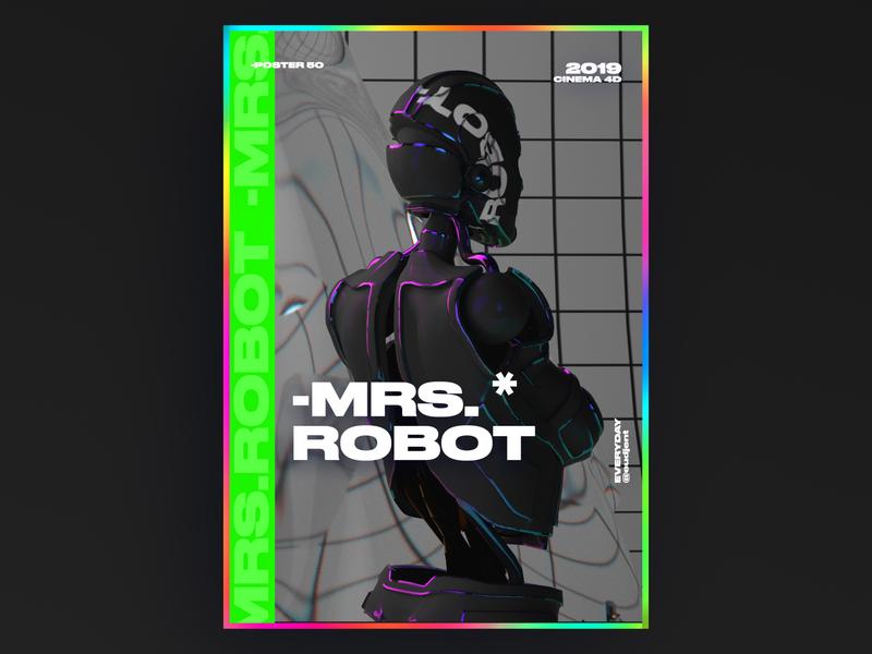 Mrs.Robot Poster ux typeface app web 3d logo vector colorful ui branding robot holography graphic design gradient c4d typography poster everyday design challenge