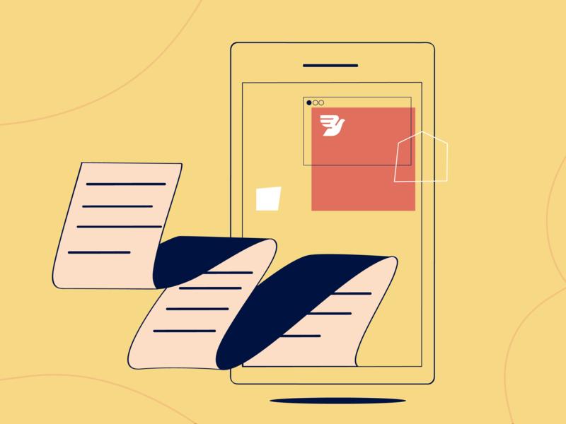 SMS Forms paper form yellow phone vector blog sms post messagebird data flat branding illustration design