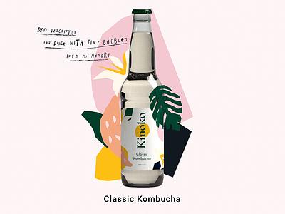 Kinoko Kombucia bottle label the flavours website nature colours vector branding design illustration bottle drinks - kombucha