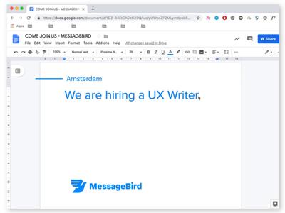 Wanted: UX Writer user interface cloud communication career job vancacy english writer copywriter design job ux job ux writer messagebird