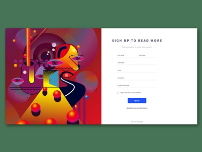 Concept signup page layout design