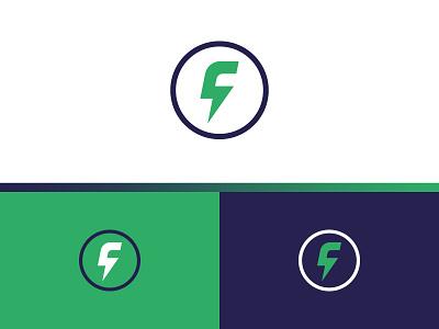 F + lightning bolt bolt lightning fast f identity vector letter symbol concept mark design branding logo