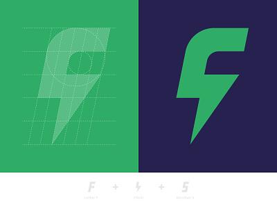 Grid F + Flash + 5 grid logo grid number bolt lightning flash 5 flat green blue vector letter symbol identity mark design branding logo