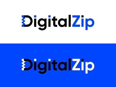 DigitalZip zipdocument document digital zipper zip blue vector identity branding mark concept logo