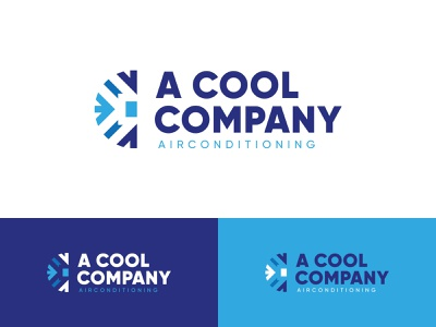 Logo air conditioning company cool company blue ice snowflake cold vector mark design logo conditioning air