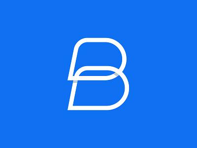 B typography mark design vector concept identity blue bolt letter branding logo
